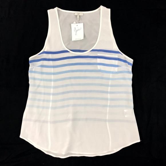 a6bdb04ff0 Joie White Blue Striped Soft Tunic Tank Top